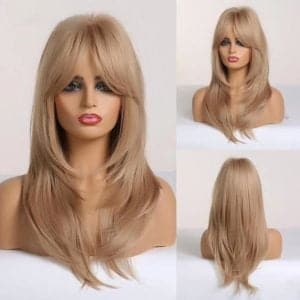 Front Lace Wig Fashion Cabelo Sintético Franja Loiro Mel 55cm