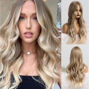 Front Lace Wig Fashion Cabelo Sintético Loiro Luz 65cm
