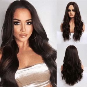 Front Lace Wig Fashion Cabelo Sintético Marrom Escuro 65cm