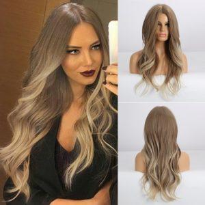 Front Lace Wig Fashion Cabelo Sintético Loiro Model 65cm