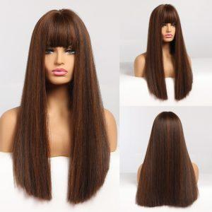 Front Lace Wig Fashion Cabelo Sintético Franja Chocolate 65cm