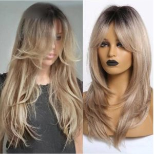 Front Lace Wig Fashion Cabelo Sintético Franja Loiro Brilho 65cm