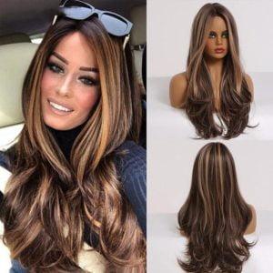 Front Lace Wig Fashion Cabelo Sintético Chocolate Com Mechas 65cm